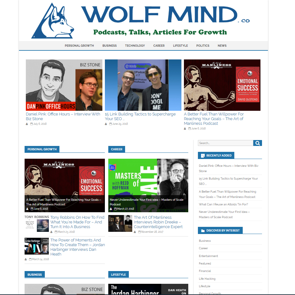 Wolf Mind is a great new resource for discovering podcasts and other media to help you grow and learn. WolfMind.co curates some of the best shows, interviews, public talks, and… READ MORE